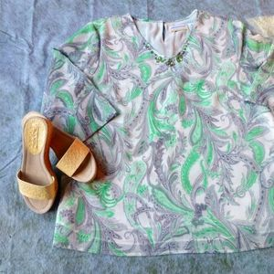 Plus Size Embellished Paisley Floral Blouse